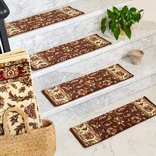 "Natural Area Rugs Chocolate Summit DIY Pet Friendly Polypropylene Carpet Stair Treads/Rugs 9"" x 29"" (13), Black Border"