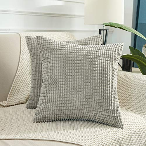 BEBEN Throw Pillow Covers - Set of 2 Pillow Covers 16x16, Decorative Euro Pillow Covers Corn Striped, Soft Corduroy Cushion Case, Home Decor for Couch, Bed, Sofa, Bedroom, Car (Light Grey, 16X16)