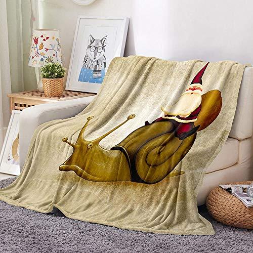 DGSGBAS 3D-tryck filt för vuxna barn, jul sherpa överkast, sniglar jultomten flanell säng soffa knäfilt 150 x 200 cm