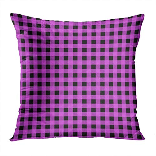 Pamela Hill Throw Pillow Decor Square 20 x 20 Inch Buffalo Plaid Gingham Violet Black Squares Funda de cojín Decorativa súper Suave