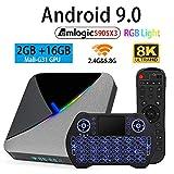 Android TV Box 9.0 2GB 16GB Amlogic S905X3 Set Top TV Box Support 3D 4K 8K USB 3.0 2.4GB 5.8GB Dual Band WiFi with RGB Light BT 4.1 and Backlit Wireless Mini Keyboard Streaming Media Player