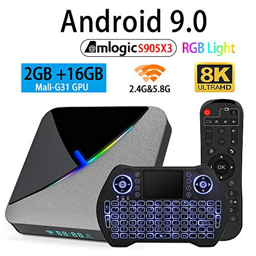 Android TV Box 9.0 2GB 16GB Amlogic S905X3 Set Top TV Box Support 3D 4K 8K USB 3.0 2.4GB 5.8GB Dual Band WiFi with RGB Light BT 4.1 and Backlit Wireless Mini Keyboard Streaming Media Player