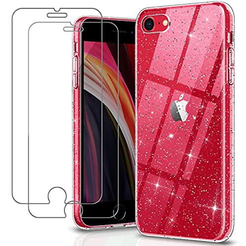 YNMEacc Glitter Coque Compatible avec iPhone Se 2020, iPhone 8, iPhone 7 avec 2 Pièces Verre Trempé Protection écran, Case Transparent Silicone TPU Antichoc Antirayures Housse pour iPhone Se 2020/8/7