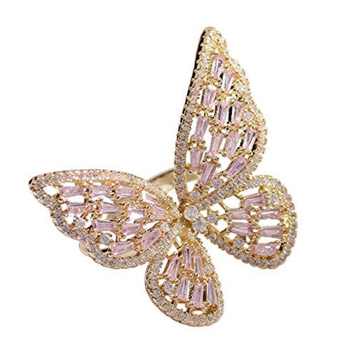 WFZ17 Anillo de dedo hueco con diseño de mariposa con diamantes de imitación, para mujeres y niñas, color dorado y rosa