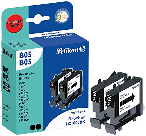 Brother MFC-240C LC1000 2xblack doble pack. Cartucho Pelikan compatible. Dos unidades negro.