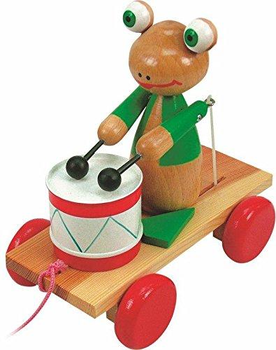WOODY 90196 replica kikker met trommel, beige, 3-5 jaar