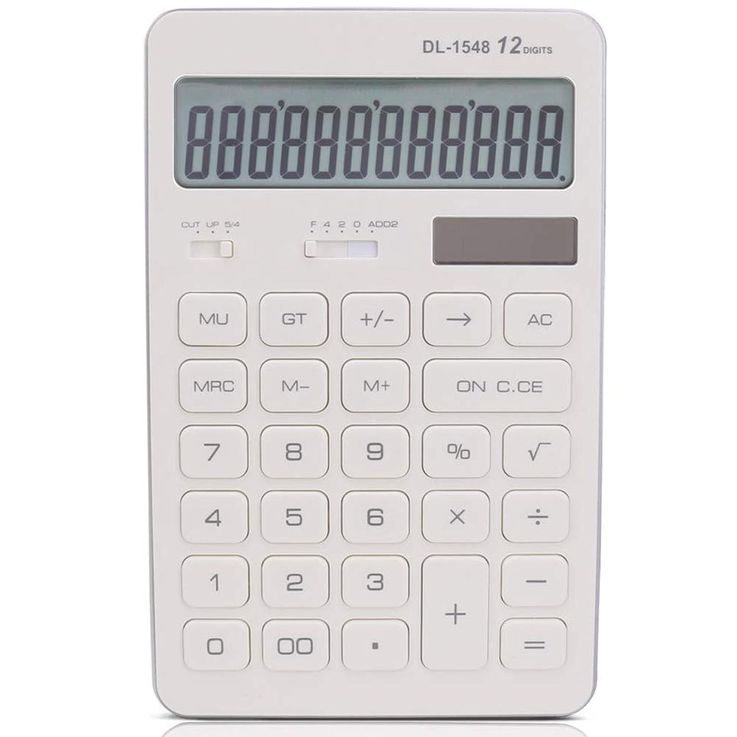 広まった裁定大学デスク電卓 太陽の電卓のビジネスオフィスかわいい電卓 学校ホームオフィス用 (色 : 白)