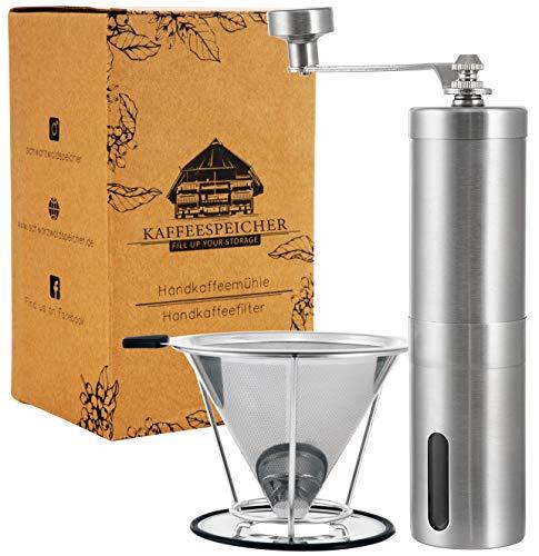 Kaffee- Set | Handkaffeemühle mit Keramikmahlwerk | Kaffeefilter Edelstahl | Manuelle Kaffeemühle | Stufenlose Mahlgradeinstellung | Mühle & Filter im Set | Edelstahl Handmühle