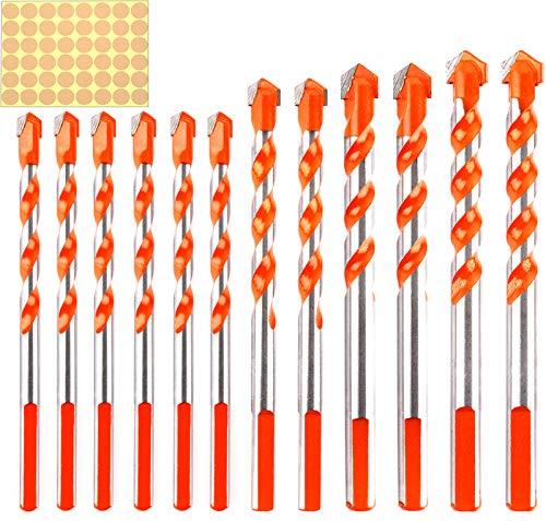 Juego de 12 brocas de perforación multifunción de aleación de triángulo (6 mm, 8 mm, 10 mm, 12 mm, 12 mm) para azulejos de metal, madera y mármol