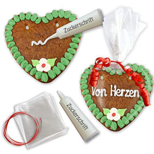 Lebkuchen Herz Rohling mit Text selber Gestalten - Set - 15cm - Randfarbe: Grün von LEBKUCHEN WELT