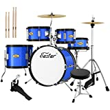 Eastar 16 inch Junior Drum Set Kids Drum Set 5-Piece with Adjustable Throne and Cymbal, Pedal &...