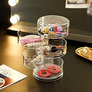 صندوق تخزين منظم مجوهرات قابل للدوران من 5 طبقات من DLUOULU ، حقيبة تخزين أسطوانية صغيرة للأقراط والقلادات والأساور والخوا...