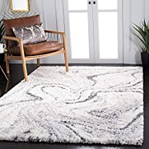 SAFAVIEH Fontana Shag Collection FNT848A Modern Abstract Non-Shedding Living Room Bedroom Dining Room Entryway Plush 2-inch Thick Area Rug 10' x 14' Ivory/Grey, 10' x 14', Ivory / Grey