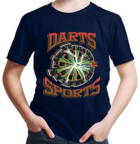 HARIZ Jungen T-Shirt Darts Sports Blitz Scheibe Dart Darten Dartpfeile Sport Fun Trikot Inkl. Geschenk Karte Deep Navy Blau 140/9-11 Jahre