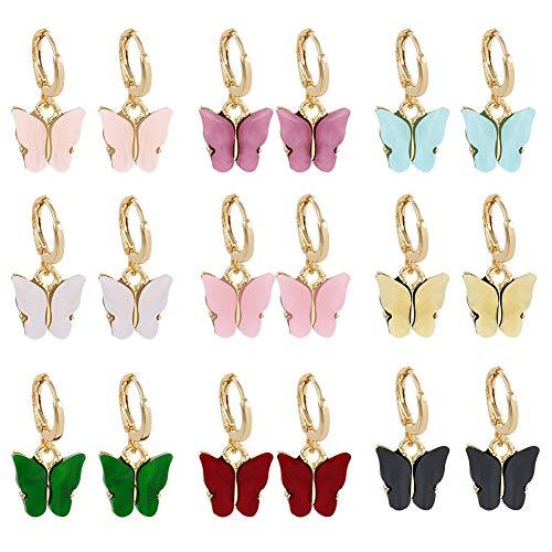Falllea, 9 paia di orecchini pendenti a forma di farfalla, in acrilico, spessi orecchini a cerchio, per donne e ragazze, bigiotteria regalo