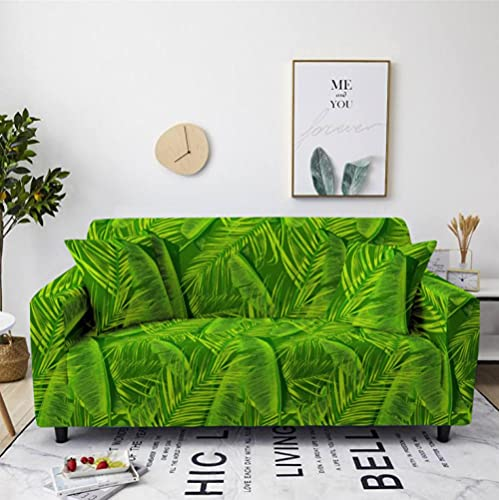 Sofa Cover Stretch Elastic Green leaf pattern Printed Sofa Slipcover 4 Seater Polyester Spandex Furniture Decorative Soft Loveseat Couch Covers Chair Protector for Pets Kids Sofa Covers