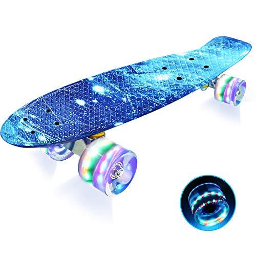 LISOPO Mini Cruiser Penny Skateboard 57cm mit Blinkenden LED-Rollen Transparenten PU-Rollen und Stabilem Deck für Kinder Anfänger Mädchen Jungen, Beste Geburtstagsgeschenke für Kinder/Teenager