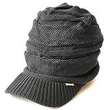 CHARM つば付き ニット帽 [ フリーサイズ/グレー ] ニットキャスケット 帽子 コットン オールシーズン対応