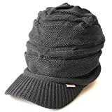CHARM Mens Brimmed Knit Beanie - Womens Summer Slouchy Beanie Visor Hat Winter Slouch Knit Hats Warm Baggy Caps Gray