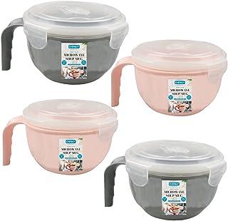 EVERBUY ® Pack med 4 – mikrovågsugn matskål BPA-fri 940 ml med lufttät lock och handtag – perfekt för kök, lunch, resor oc...