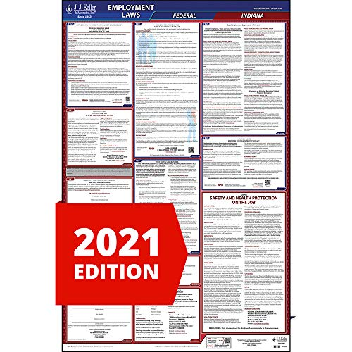 2021 Indiana Labor Law Poster, All-in-One OSHA Compliant in State & Federal Laminated Poster (26