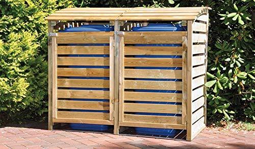 MEIN GARTEN VERSAND Mülltonnenbox aus Holz, Mülltonnenverkleidung - zweifach (für 2 Tonnen bis 240 Liter), wetterfest und somit ideal für draußen/Outdoor geeignet