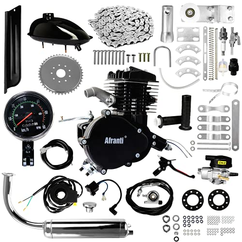 Afranti Bicycle Motor Kit 80cc, Motorized Bicycle Engine Kit 2 Stroke Petrol Gas Motor Engine Kit Fits Most 26' or 28' Bikes with V-Frame