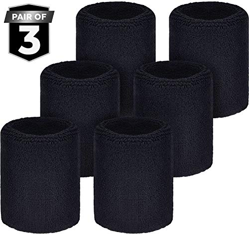 Wrist Sweatbands - Sports Wristbands Sweat Bands for Athletic Men & Women - Stretchy Cotton Terry Cloth for Working Out, Tennis, Gymnastics, Basketball, Baseball, Football, Running & Gym Exercise
