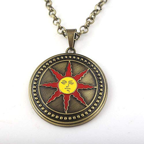Game Dark Souls 3 Necklace Pendant Solaire of Astora Sunlight Metal Keychain Figure Toys Gift (1)
