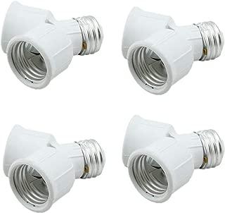 Twin Socket Adapte, Light Bulb Socket Splitter for LED, CFL and Standard Bulbs, E26 to Dual E26 US Standard Screw Light Holder Adapte,White, 4-Pack