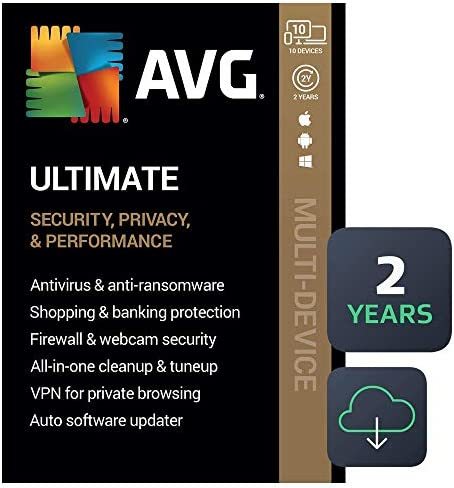 AVG Ultimate 2021 Antivirus Cleaner VPN 10 Devices 2 Years PC Mac Mobile Download product image