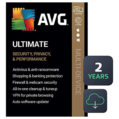 AVG Ultimate 2021   Antivirus+Cleaner+VPN   10 Devices, 2 Years [PC/Mac/Mobile Download]