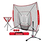 PowerNet 7x7 DLX Practice Net + Deluxe Tee + Ball Caddy + 3 Pack Weighted Ball + Strike Zone Bundle (Red) | Baseball Softball Coach Pack | Pitching Batting Training Equipment Set | 7' x 7'