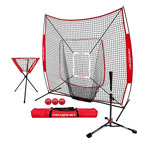 PowerNet 7x7 DLX Practice Net + Deluxe Tee + Ball Caddy + 3...