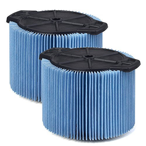 WORKSHOP Wet/Dry Vacs Vacuum Filters WS12045F2 Fine Dust Wet/Dry Vacuum Filters (2-Pack - Shop Vacuum Filters) For WORKSHOP 3-Gallon To 4-1/2-Gallon Shop Vacuum Cleaners, Blue