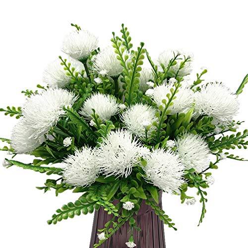 CATTREE Artificial Dandelion Plants, Plastic Flowers Shrubs Bushes Fake Grass Wedding Indoor Outdoor Home Garden Verandah Centerpieces Arrangements Party Decoration Planting Filler - White 4 Pack