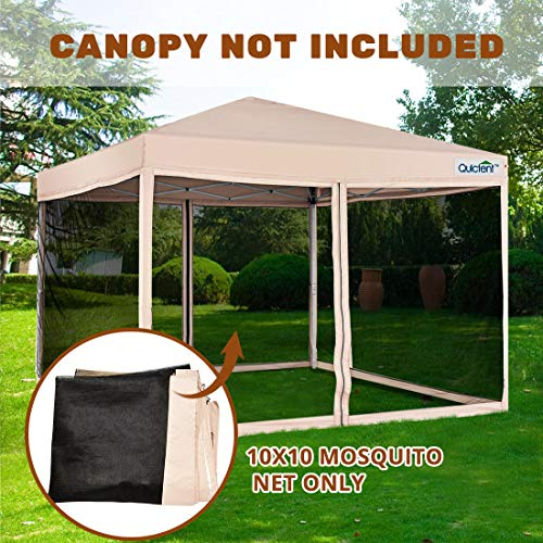 Quictent Pop up Canopy Screen Walls Mosquito Netting Replacement for 10x10 Instant Canopy Tent Gazebo (Walls Only, Canopy Not Included)