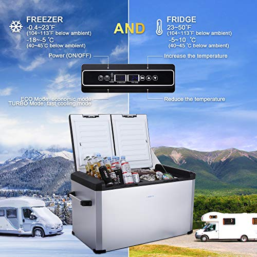 CIGREEN 63.4 Quart (60 Liter) Portable Refrigerator, Compressor Electric Powered Portable Cooler, Fridge and Freezer for Camping, Travelling, Outdoor and Home Use -12/24V DC and 110-240 AC, DC-62FD