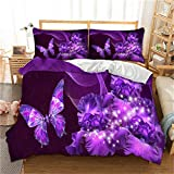 Luxury Purple Bedding Duvet Cover with Zipper Closure-3D Galaxy Purple Butterfly Floral Printed Bedding Comforter Cover, Queen (90'x90')- 3Pieces (1 Duvet Cover +2 Pillowcases) -Soft Microfiber
