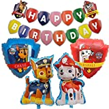 SUNSK Globos de Cumpleaños Foil Helio Globo Banner de Happy Birthday Decoración para Paw Dog Patrol Fiesta de Cumpleaños 5 Piezas