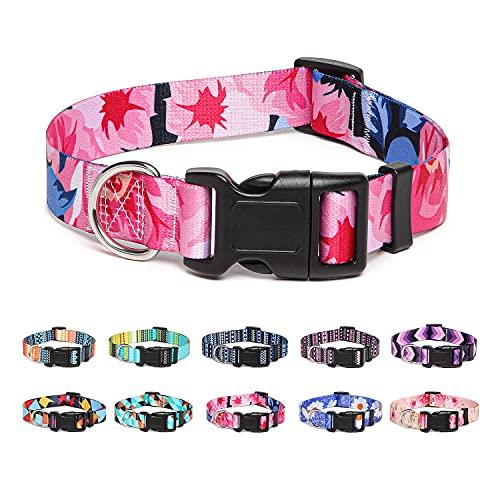 Suredoo Hundehalsband Verstellbares, Weich & Komfort Nylon Hunde Halsband für Kleine Mittlere Große Hunde Welpen Katzen (S, Pink Blume)