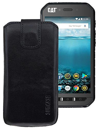 Suncase ECHT-LEDER Tasche Etui für DOOGEE S60 | DOOGEE S60 lite (mit Rückzugsfunktion, Magnetverschluss) schwarz