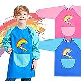 2 PCS Delantal Infantil Pintura Impermeable Delantales de Niño, delantal para pintar, delantal de cocina, delantal para pintar, cocinar, comer, actividades de laboratorio, 6 – 9 años (rosa y azul)