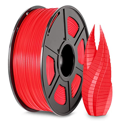 3D Printer PLA Filament 1.75, SUNLU Red PLA Filament 1.75mm, Fit FDM 3D Printer, 1KG Spool, Dimensional Accuracy +/- 0.02 mm, PLA Red