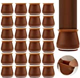 Upgraded 24 PCS Chair Leg Caps with Felt Bottom, Round&Square Silicone Chair Leg Protectors, Elastic Furniture Silicone Protection Cover to Prevent Floor Scratches and Reduce Noise (Coffee)