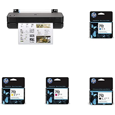 """HP DesignJet T230 Large Format Compact Wireless Plotter Printer - 24"""" (5HB07A), with Standard Genuine Ink Cartridges (4 Inks) - Bundle"""