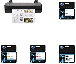 """HP DesignJet T230 Large Format Compact Wireless Plotter Printer - 24"""" (5HB07A), with Standard Genuine Ink Cartridges (4 In..."""