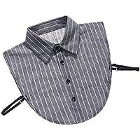 IPOTCH Cuello Falso de Media Camisa de Algodón con Correa Ajustable 4 Agujeros de Botones para Vestido Abrigo - Negro, talla única