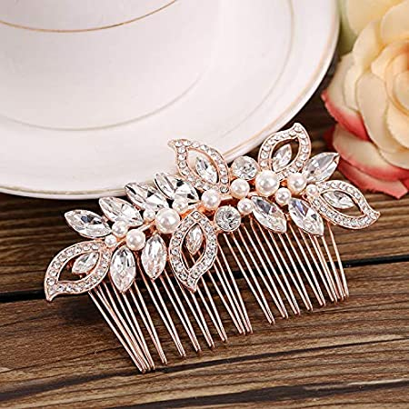 Rose Gold and Crystal Wedding Prom Hair Comb
