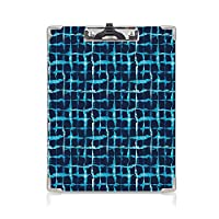 クリップボード A4サイズ対応 レンジップボード インディゴ 屋外スケッチポータブルスケッチクリップ (2パック)水彩プリントの幾何学的な正方形ラインアクアプールに触発されたデザインネイビーブルーホワイトとスカイブルー